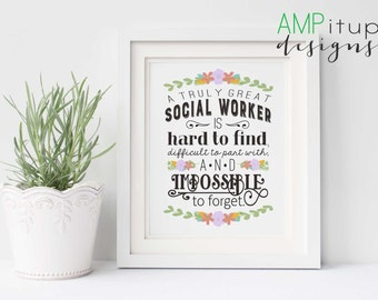 A Truly Great Social Worker Art Print - Social Worker Gift - Gift for Social Worker - Social Worker Quote - Art Gift Printable - Social Work