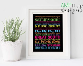 80s Printable Poster - 80's Printable - 80s Decor - Movie Quote Printable Gift - 1980s Movies - Movie Lover Gift - Movie Quotes - 80's Party