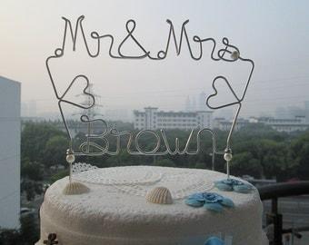 Mr & Mrs Cake Topper with Surname, Vintage Cake Topper, Wedding Cake Topper, Personalized Cake Topper, Bridal Party Decor