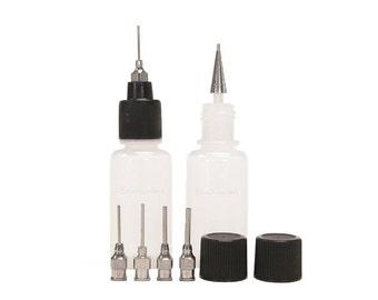Trial Applicator Kit HENNA Jagua Ink Tattoo Paste Oil Paint Glue Gel Mehndi Bottles Combo 2 Bottles, 6 Precision Stainless Steel Tips