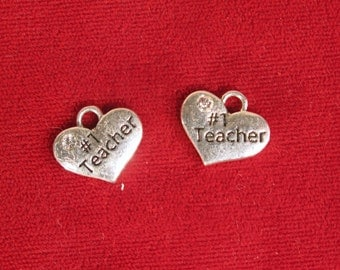 "5pc ""# 1 teacher"" charms in antique silver style (BC1124)"
