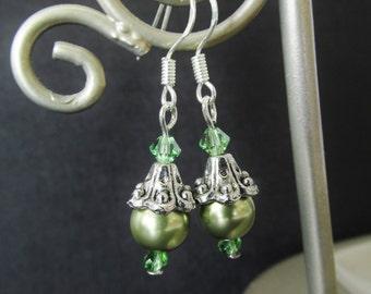 Olive Green Swarovski Elements Crystal Pearl Earrings - Beaded Sterling Silver Earrings - Handmade Silver Dangle Earrings - Gifts for Her