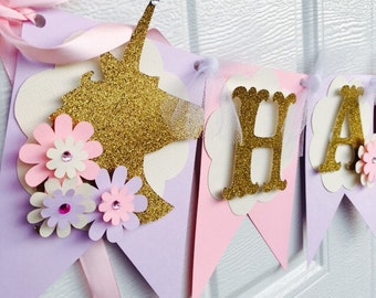 Unicorn Birthday banner, Unicorn banner, Unicorn birthday party