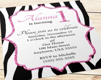 Printable Birthday Invitation - Zebra and Pink Glitter (5x7)
