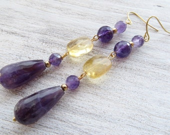 Purple amethyst earrings, yellow citrine earrings, long drop earrings, dangle earrings, gemstone jewelry, semi precious stone jewelry