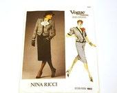 On Sale Vogue 1663, Nina Ricci, Vogue Paris Original, Vogue Pattern, Misses Jacket & Skirt, 1986, Uncut Pattern, Designer Pattern
