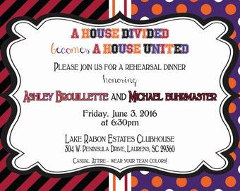 South Carolina Clemson House Divided Invitation