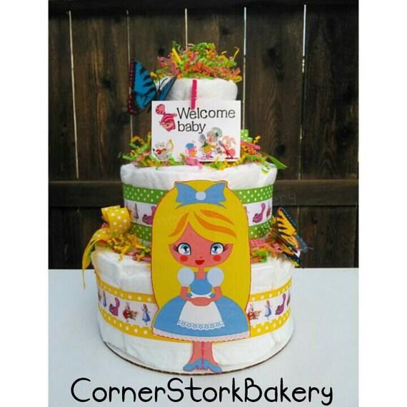 Alice In Wonderland Diaper Cake By Cornerstorkbakery On Etsy
