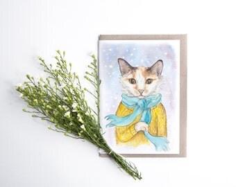 Card - Miss Betty      cat, snow, winter, birthday