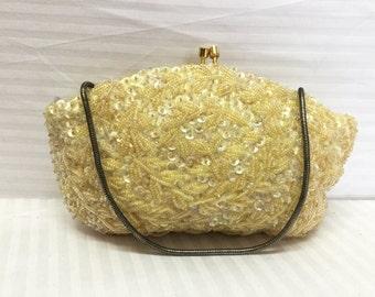 Beaded Sequin purse,formal purse, Bags ,Purses, Hong Kong, Formal, Handbag, Off White, Kiss Lock