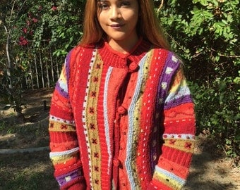 Wool cardigan sweater,beaded sweater, rose buttons ,medium,red,pink,gold