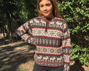 Holiday, knit sweater, Christmas ,sweater, size small, snowflakes,reindeer