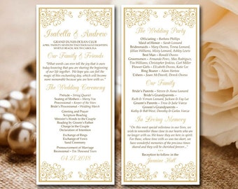 Gold Wedding Program Printable Template Isabella Ceremony
