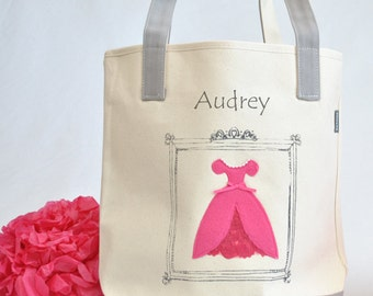 Pink Princess Tote Bag |Girls Book Bag | Kids tote bag | Library book bag | Easter Gift|Princess Party |Big sister kit| Preschool Tote Bag