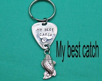 Personalized fishing Lure Keychain,fishing lure, Anniversary Gift, Husband Gift, Boyfriend Gift, Fishing Gift, Gift for Him, Hand Stamped