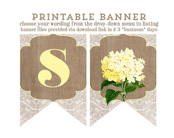 yellow banner, Baby shower banner, burlap lace banner, Bridal Shower banner, banner printable, floral banner, print my party, digital