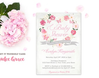 butterflies baby shower invitation, hot pink grey baby shower, butterfly baby invites, make your own invitations, sip & see invites, fuchsia
