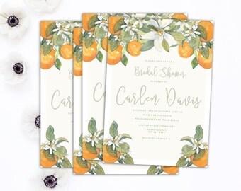 Bridal Shower Invitation // Citrus Shower Invitation // Wedding Shower Invitation // 5x7 Vintage Florida Shower Invitation // The Carlen