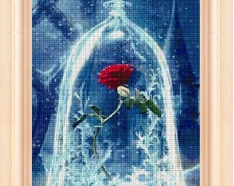 Enchanted Rose, cross stitch pattern, cross stitch disney, cross stitch rose, beauty and the beast, PDF pattern - instant download!