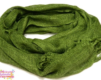 Green Linen and Cotton Scarf, Linen Scarf, Green Scarf, Green linen-cotton Scarf, Men Scarf, Boho Scarf, Boho Style