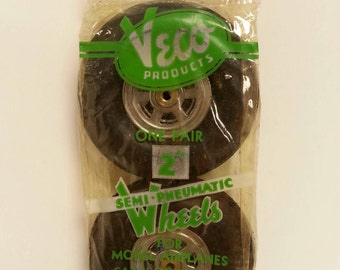 "Free Shipping!! Veco 2"" Semi-Pneumatic Model Airplane Wheels NOS"