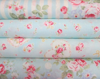 Lecien Princess Rose in Blue, 4 Fat Quarters, Japanese Fabric