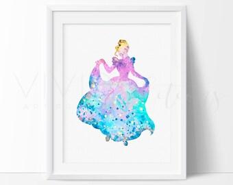 Cinderella, Disney Princess Baby Girl Nursery Art, Watercolor Art Print, Wall Decor, Modern Baby Room Print, Wall Art, Not Framed, No. 17