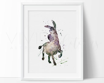 Shrek Print, Donkey Baby Nursery Watercolor Art Print Wall Decor, Boys Bedroom or Playroom Wall Art, Birthday Gift, Not Framed, No. 147
