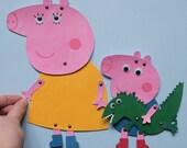 """Articulated Art Paper Dolls """"Peppa pig"""", set of 6 paper dolls, DIY paper doll, Peppa pig paper dolls, Peppa pig paper toys, DIY set"""