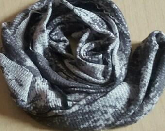 Grey Distressed/ Tie Dye Thermal Infinity Scarf