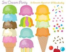 1Dollar SALE- Ice Cream Cones Clip Art - Ice Cream Party - Kids Party Clipart