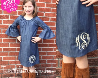 Denim Pheasant Dress - Ruffle Sleeves- Monogrammed