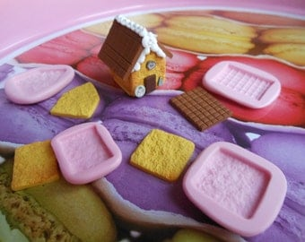 Fimo stencil gingerbread Cottage ideal for pendant necklace, 4 piece