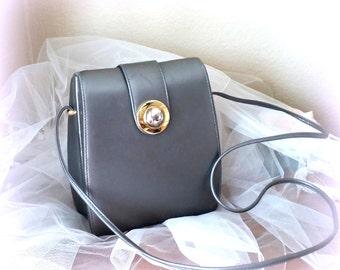 60s Silver Gray Box Purse - ANDE - Shoulder Strap / Crossbody - Vintage Handbag