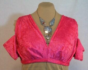 Crushed Velvet Choli Pink