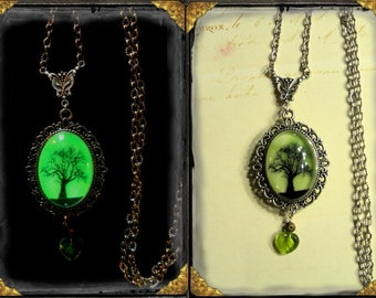 Tree of Life ~ Glow in the Dark locket in aged silver finish Spiritual, Inspirational, Pagan, Wiccan, Nature