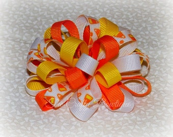 Halloween Hair Bow ~ Candy Corn Bow ~ Halloween Candy Bow ~ Orange Loopy Bow ~ Small Loopy Bow ~ Yellow Loopy Bow ~ Candy Corn Hair Clip