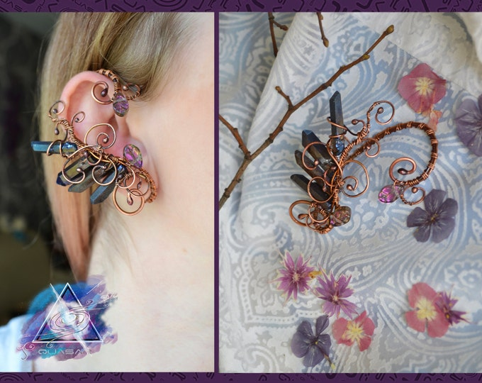 "Ear cuff ""dusk wood"" 