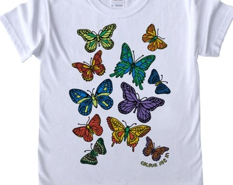 Girls T shirt to Colour in Butterflies Design Doodle Colouring in Art Fabric Pens Tee Shirts Fun Activity for Kids