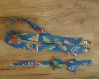 Antique Cars and Trucks Baby and Toddler Suspenders and Bow Tie