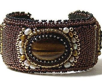 Tigers Eye Cuff Bracelet, Handbeaded Tiger's Eye Cuff Bracelet, Bead Embroidered Cuff Bracelet, Gemstone Bead Cuff, Handbeaded Bracelet
