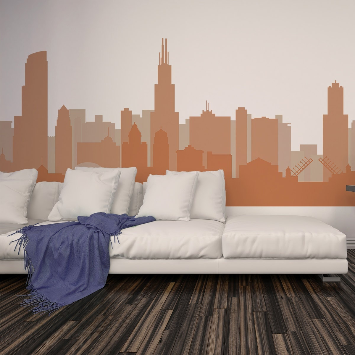 Cityscape Decal CHICAGO ILLINOIS Skyline Wall Decal Vinyl - Custom vinyl decals chicago