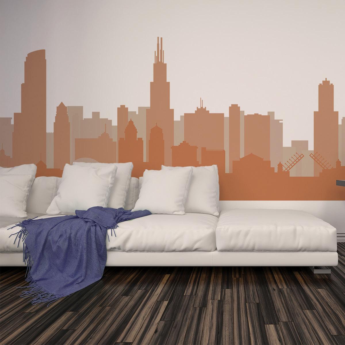 Cityscape Decal CHICAGO ILLINOIS Skyline Wall Decal Vinyl - Custom vinyl decals chicago