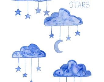 Blue Clouds Stars Moon for Little Boys Room