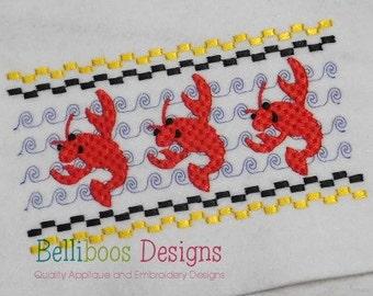 Crawfish Faux Smocking - Crawwfish Embroidery Design - Faux Smocking - Embroidery Design