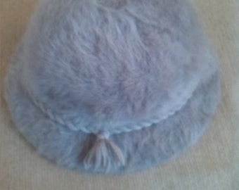Mink grey rabbit fur bucket hat 1970s (unused)