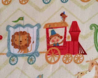 SALE - One Half Yard of Fabric Material -  Circus Train