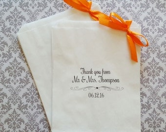 Thank You Personalised White Paper Candy Buffet Lolly Bags x 50