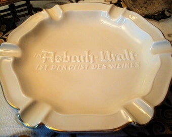 Vintage German Porcelain Ivory & Gold Asbach Uralt Advertising Ashtray - Large Round - Excellent Condition!!