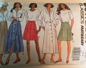 Skirt Pleated Misses Size 6-8-10 Long and Short Fast and Easy Butterick #6227